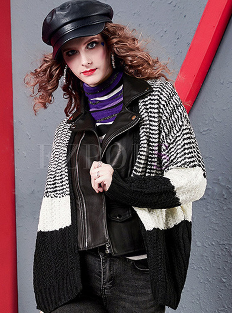Patchwork Color-blocked Striped Loose Cardigan