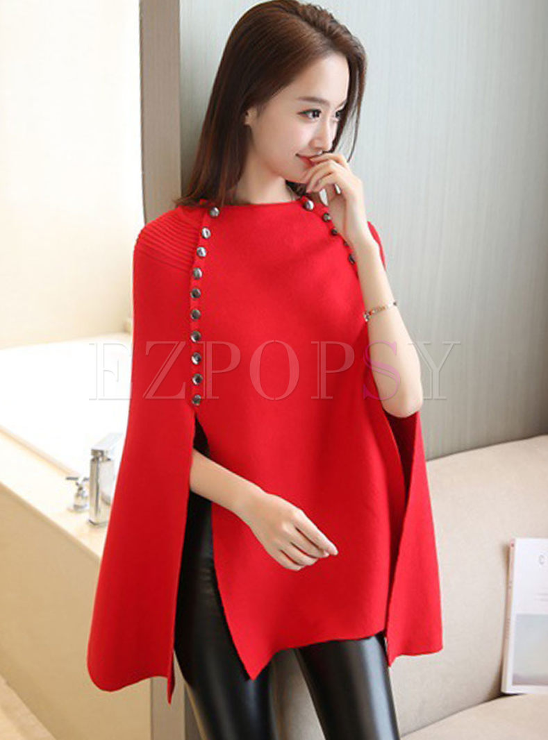 Crew Neck Poncho Sleeve Pullover Sweater