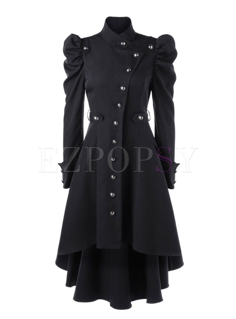 Mock Neck Puff Sleeve A Line Overcoat