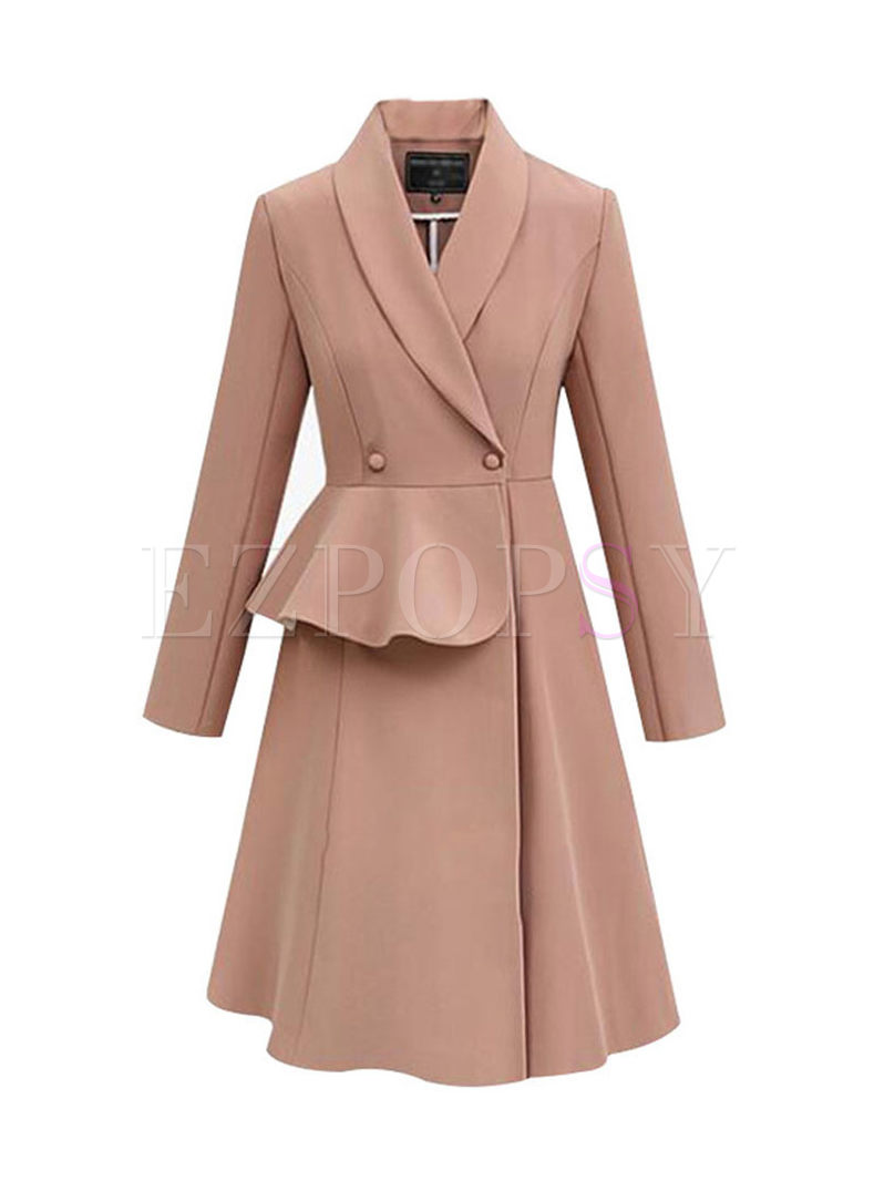 Notched Falbala Patch A Line Trench Coat