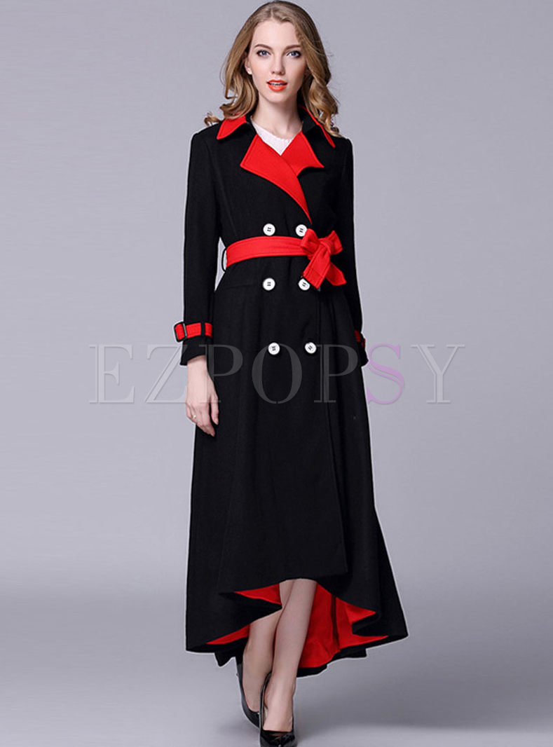 Double-breasted Irregular Hem Wool Peacoat