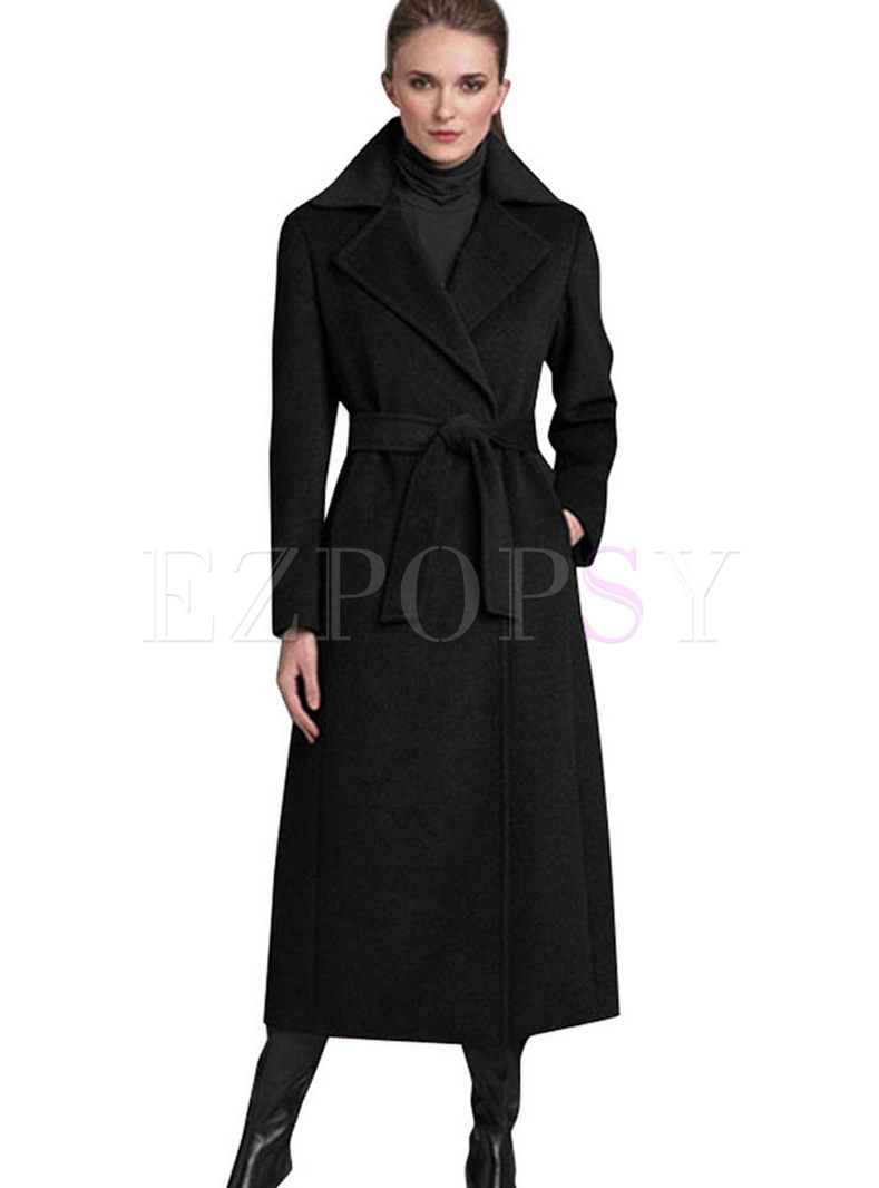 Black Notched Long Overcoat With Belt