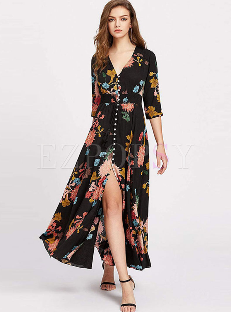 V-neck Print Slit Maxi Beach Dress