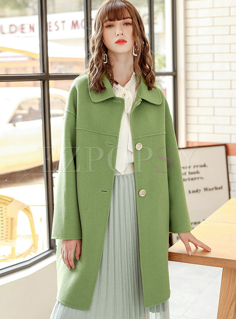Solid Color Straight Loose WoolBlend Coat