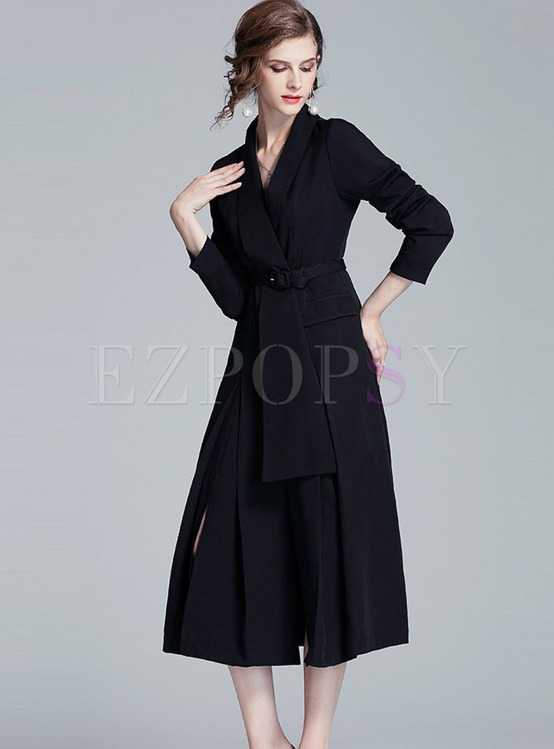 Solid Color Notched Pleated A Line Trench Coat