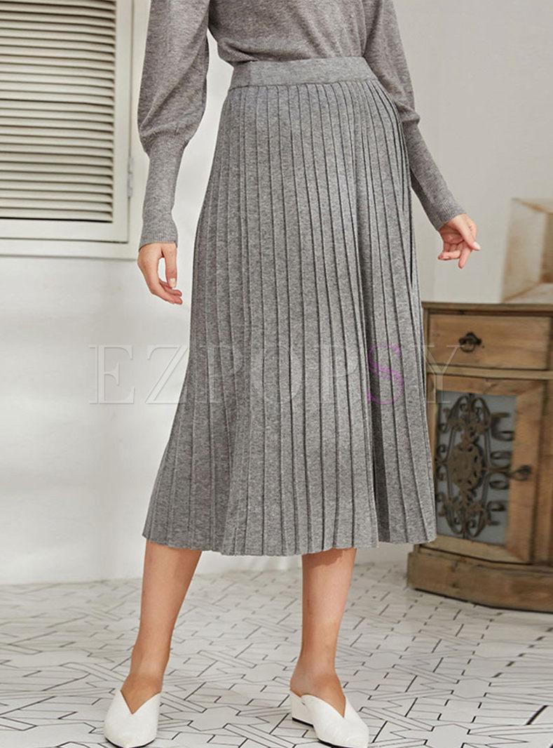 High Waisted A Line Sweater Maxi Skirt