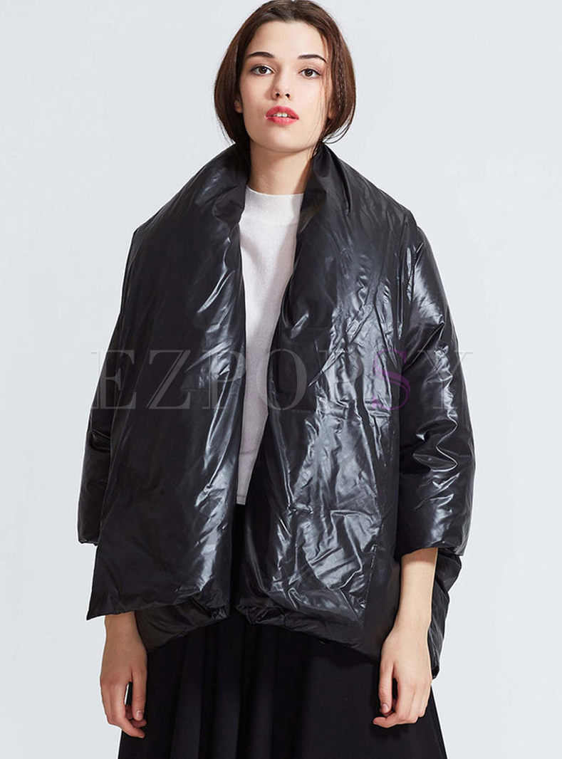 Scarf Neck Cloak Loose High Shine Down Coat