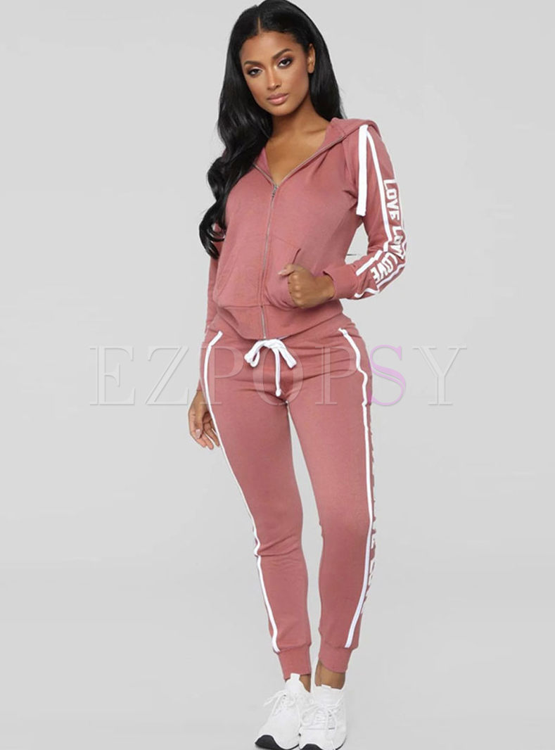 Hooded Letter Print Workout Tracksuit