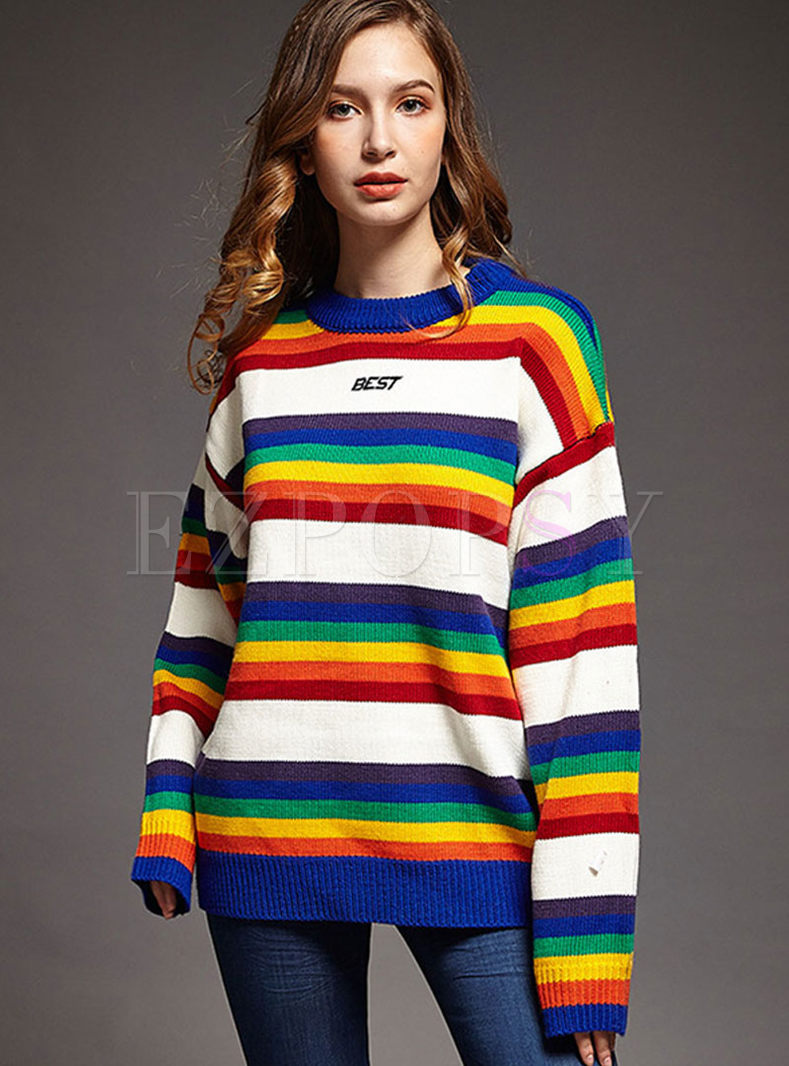 Color-blocked Striped Letter Print Tunic Sweater