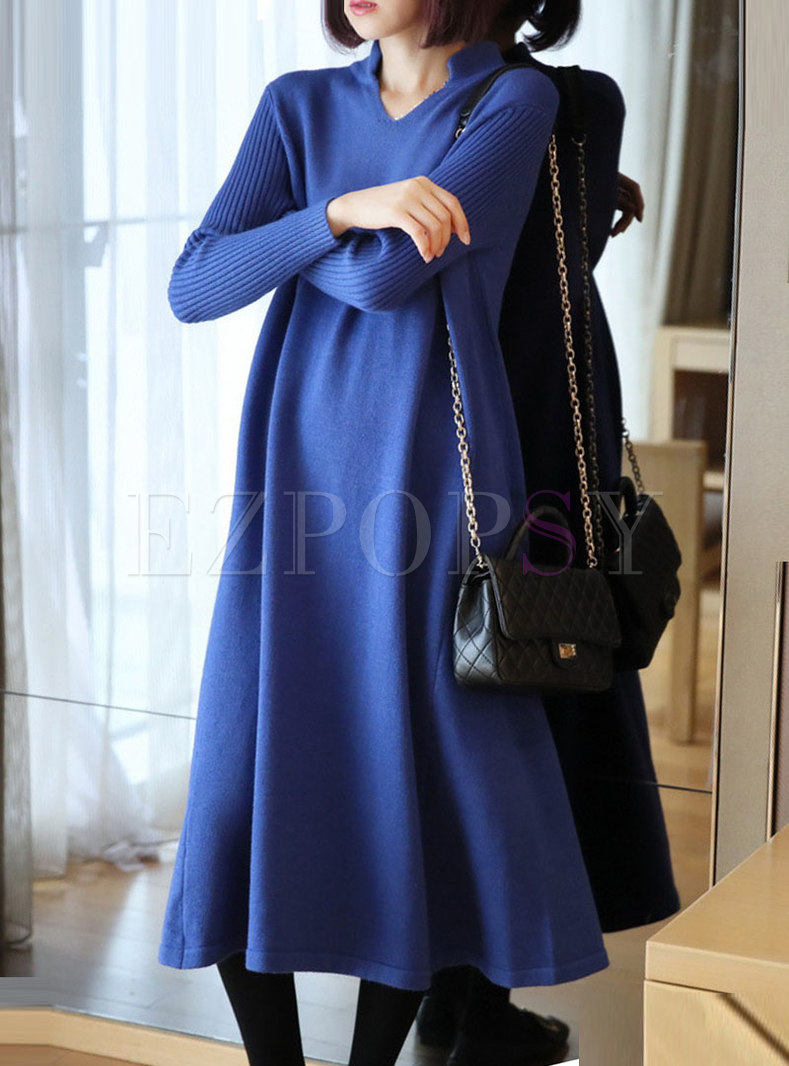Solid Color V-neck Straight Loose Sweater Dress