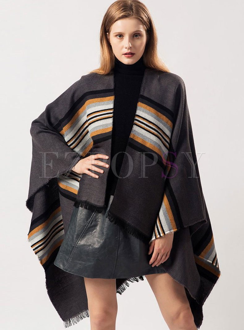 Color-blocked Striped Thick Cloak Scarf