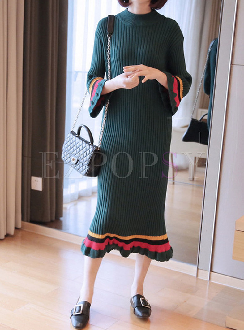 Crew Neck Flare Sleeve Color-blocked Slim Sweater Dress