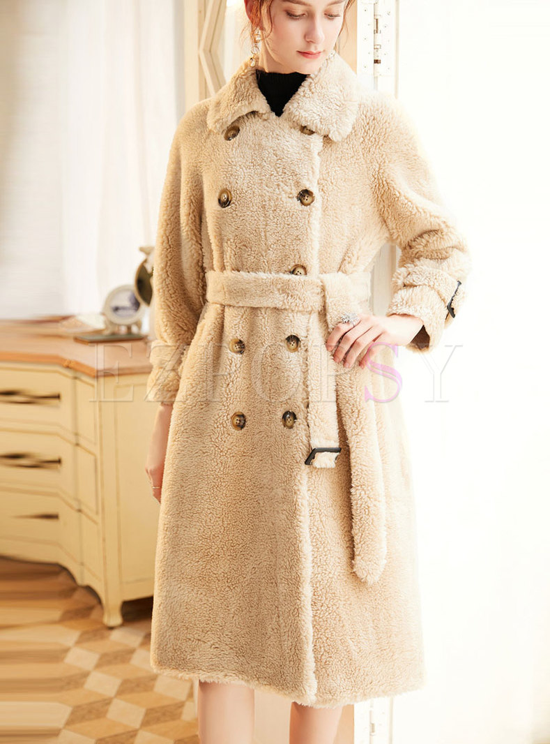 Double Breasted A Line Teddy Coat
