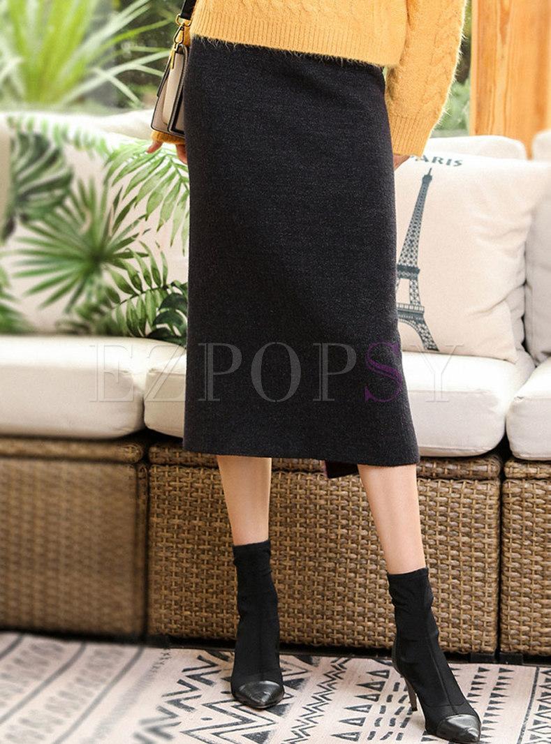 Elastic Waisted Imitation Mink Bodycon Skirt