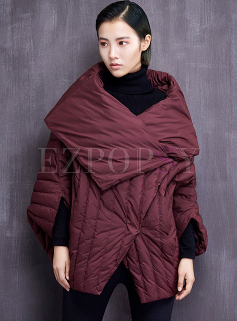 Solid Color Bat Sleeve Puffer Coat