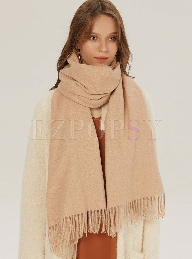 Solid Color Fringed Faux Cashmere Scarf
