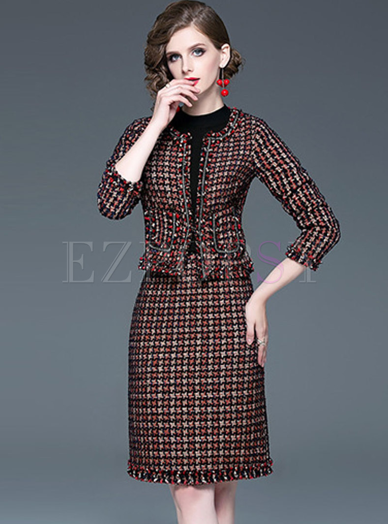 Crew Neck Tweed Slim Suit Dress