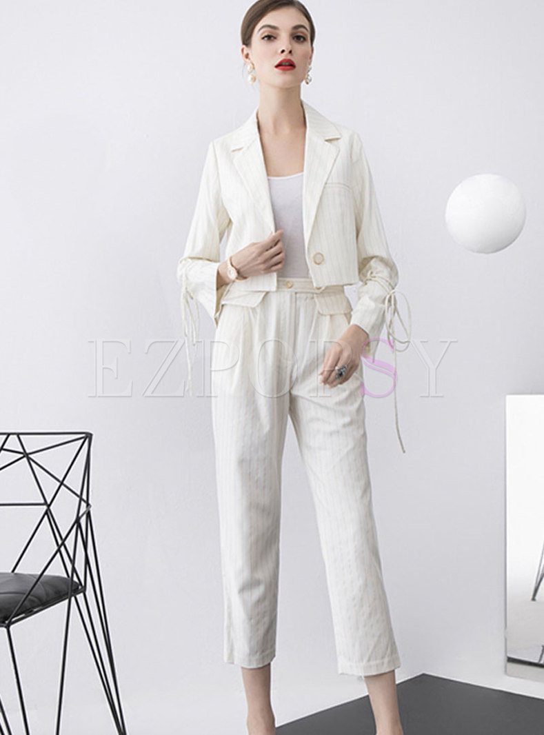 Solid Color Short Top Tie Pant Suits