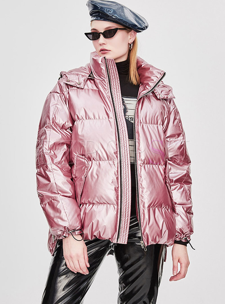 Hooded Loose High Shine Puffer Jacket