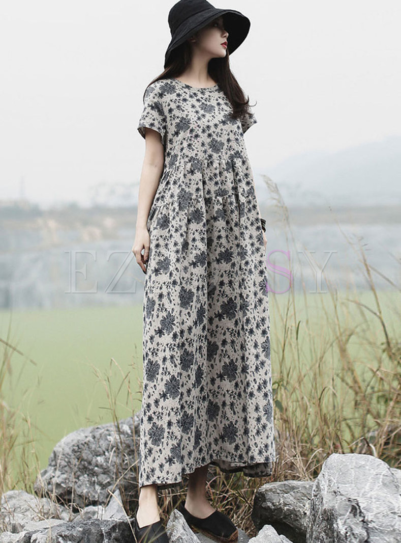 Short Sleeve Floral Shift Maxi Dress