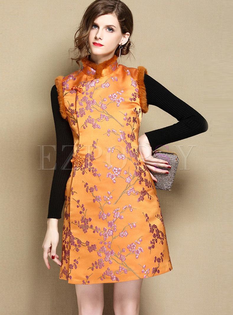 Jacquard Sleeveless Thick Cheongsam Dress