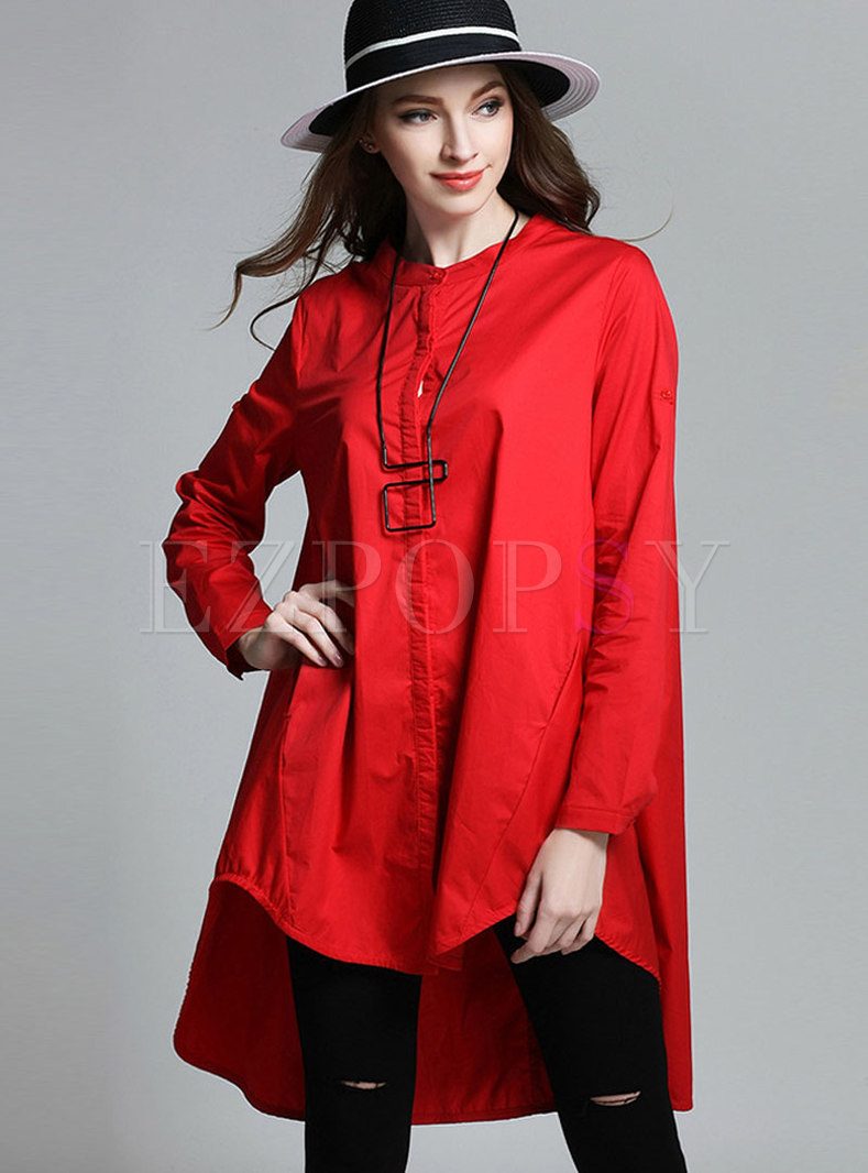 Crew Neck Solid Color A Line Zip-up Blouse