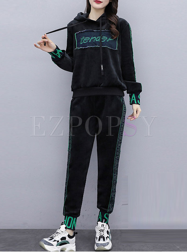 Hooded Slim Letter Print Pant Suits