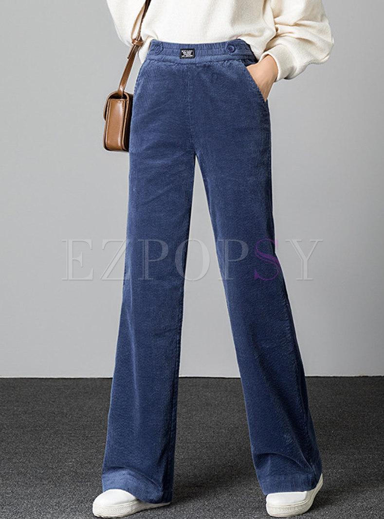 Elastic Waisted Corduroy Wide Leg Pants