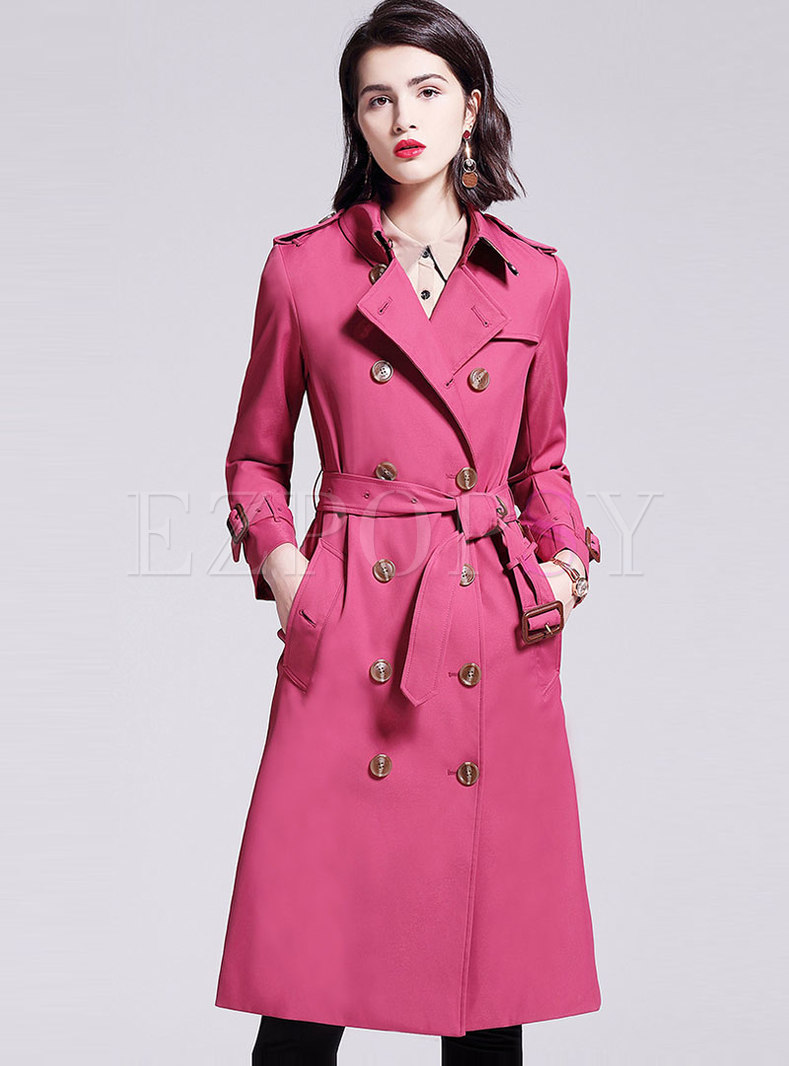 Double Breasted A Line Trench Coat