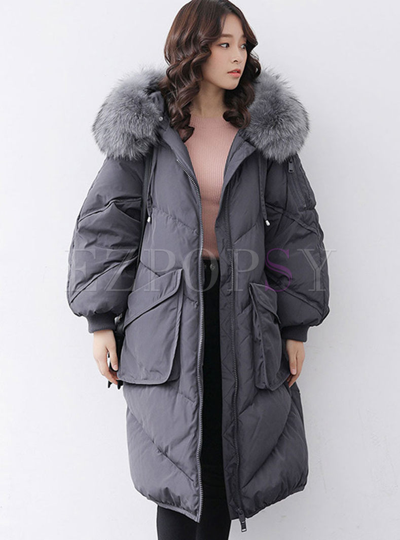 Hooded Fur Collar Patchwork Long Down Coat