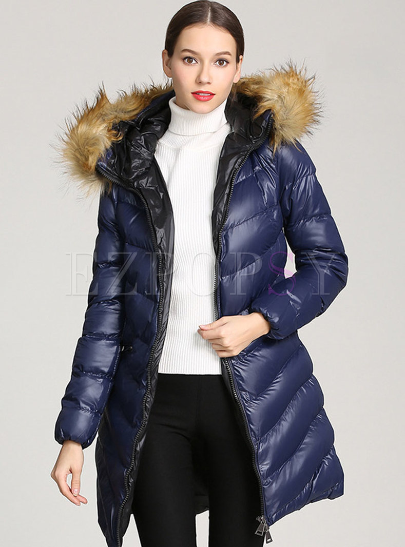 Solid Color Hooded Down Cotton Puffer Coat