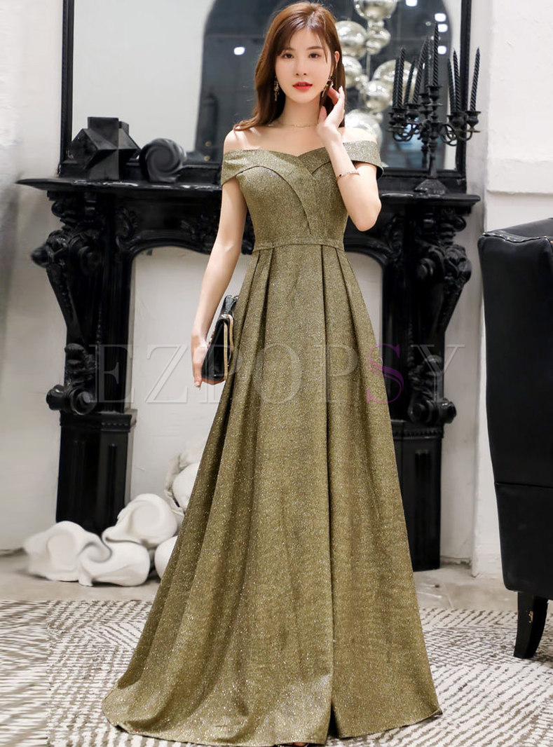 Off The Shoulder Waist Long Formal Dress