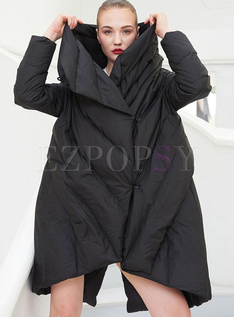 Black Turtleneck Loose Asymmetric Down Coat