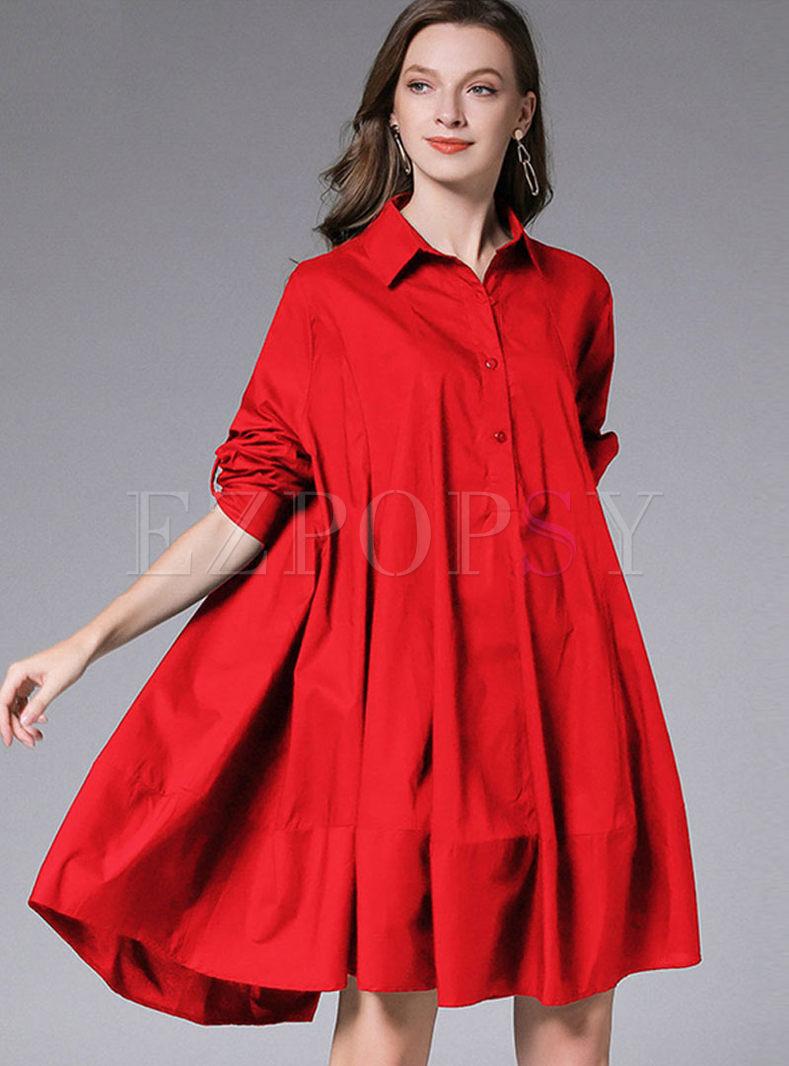 Lapel Plus Size A Line Shirt Dress