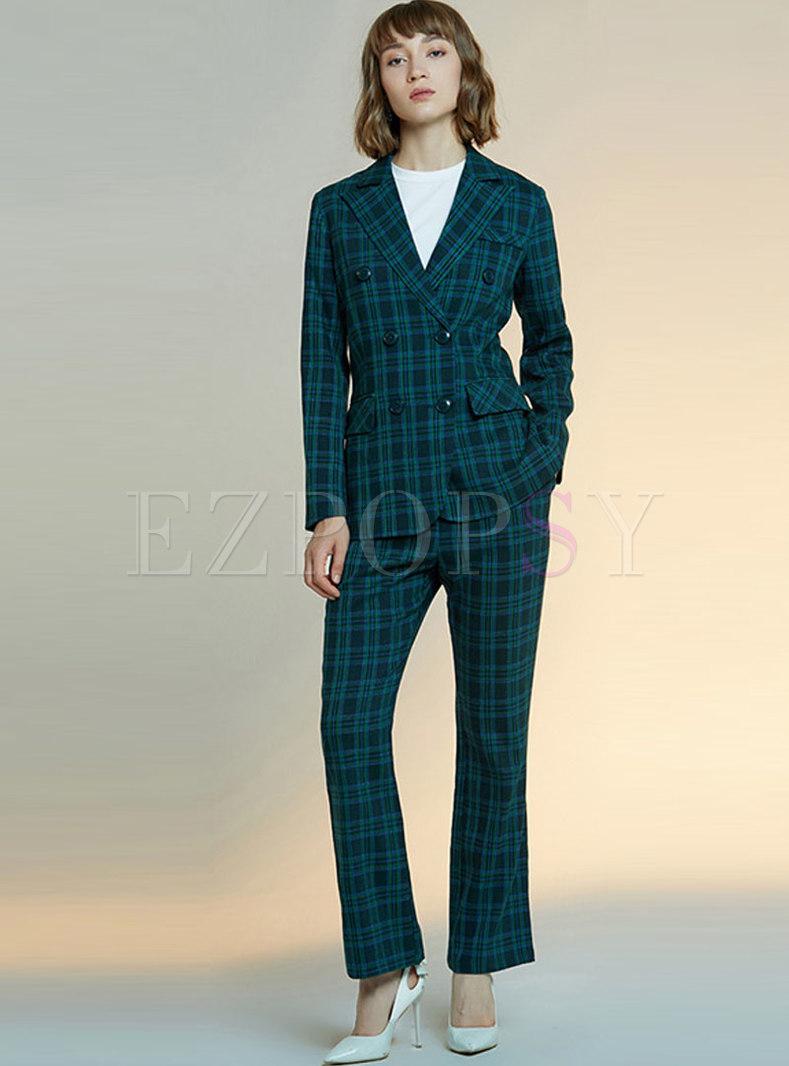 Dark Green Plaid Slim Pant Suits