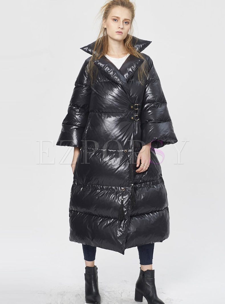 Plus Size Flare Sleeve Long Puffer Coat
