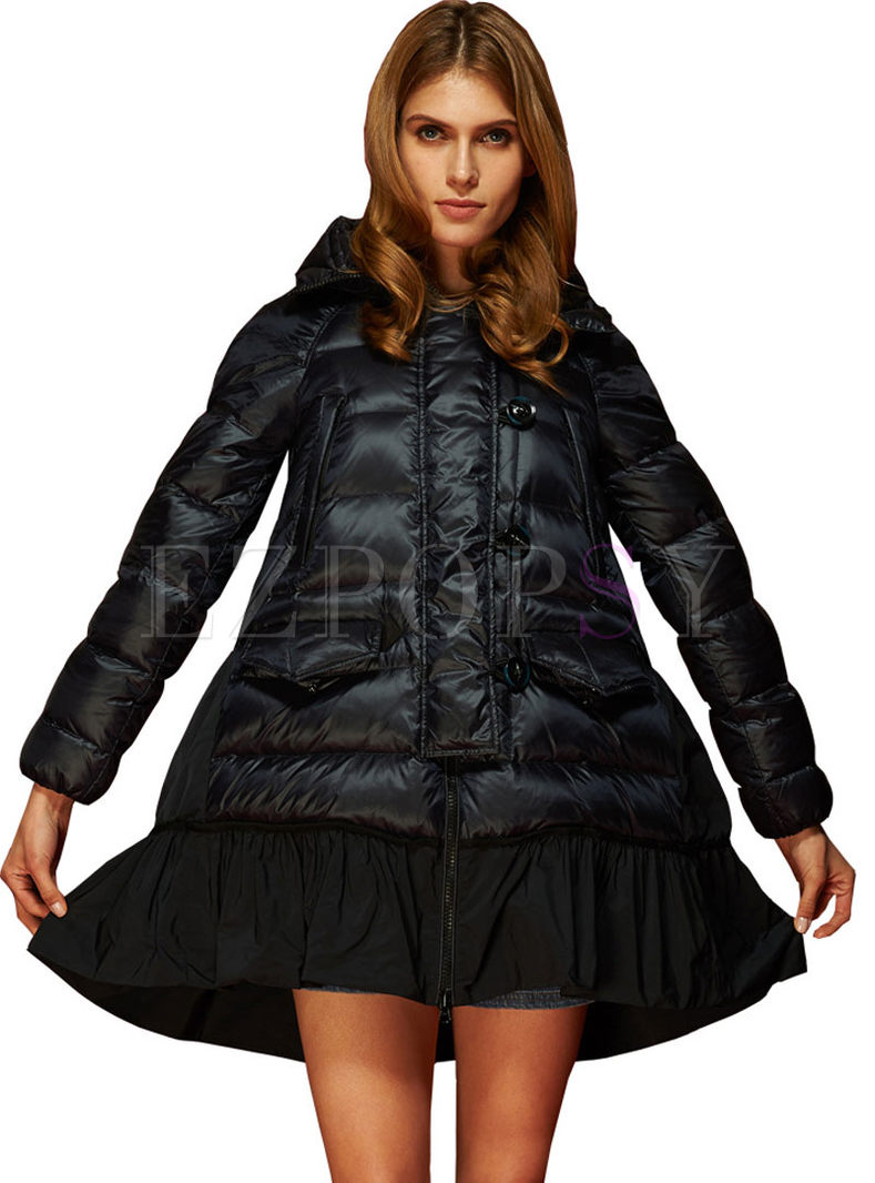 Hooded Plus Size Patchwork Loose Puffer Coat