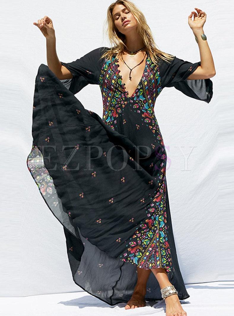 Boho Deep V-neck Print Beach Long Dress