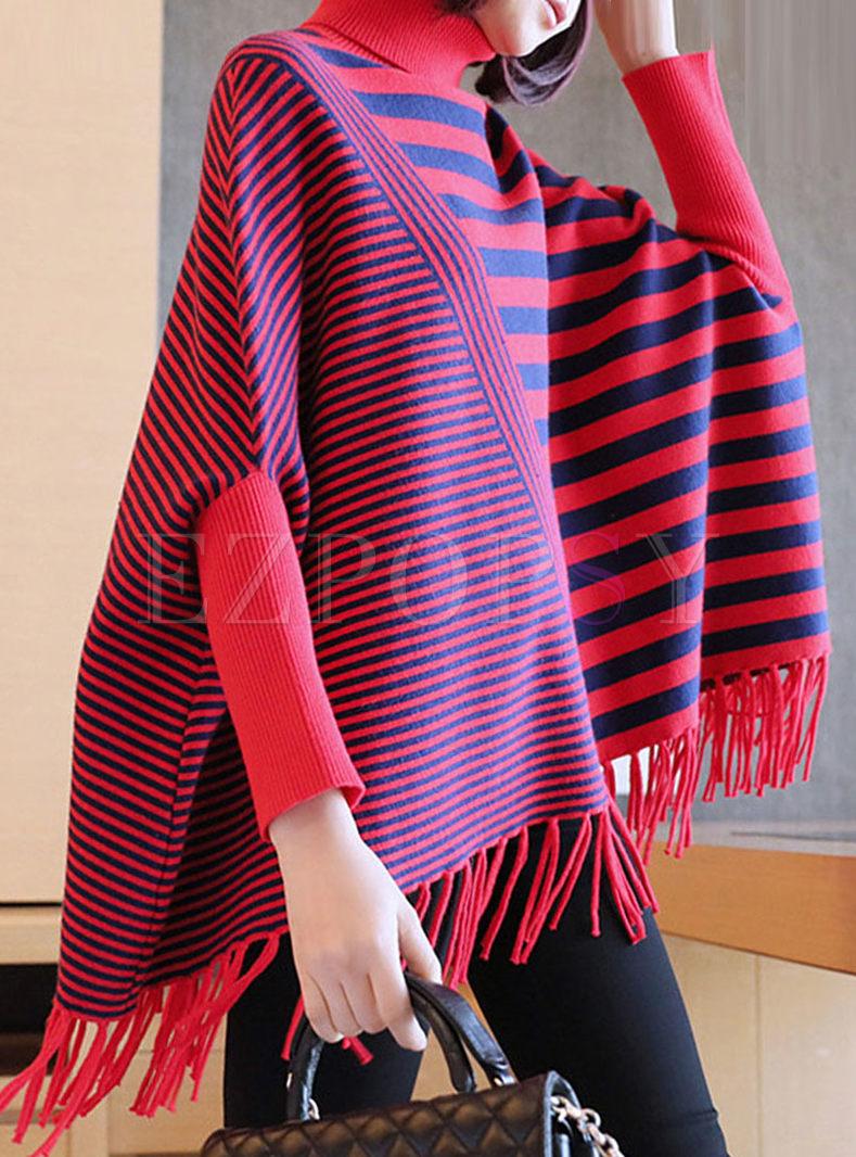 Turtleneck Striped Bat Sleeve Sweater
