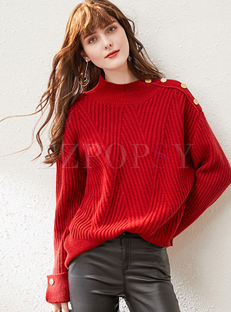 Mock Neck Loose Pullover Sweater