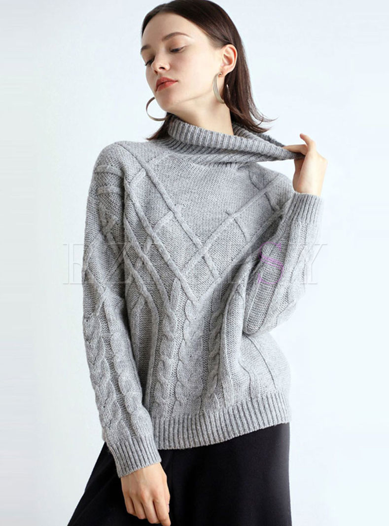 Turtleneck Pullover Cable Knit Sweater