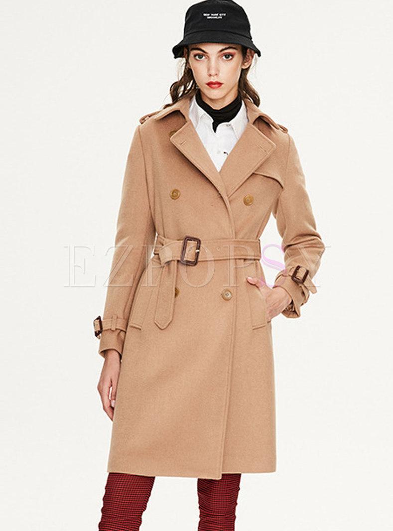 Solid Color A Line WoolBlend Coat