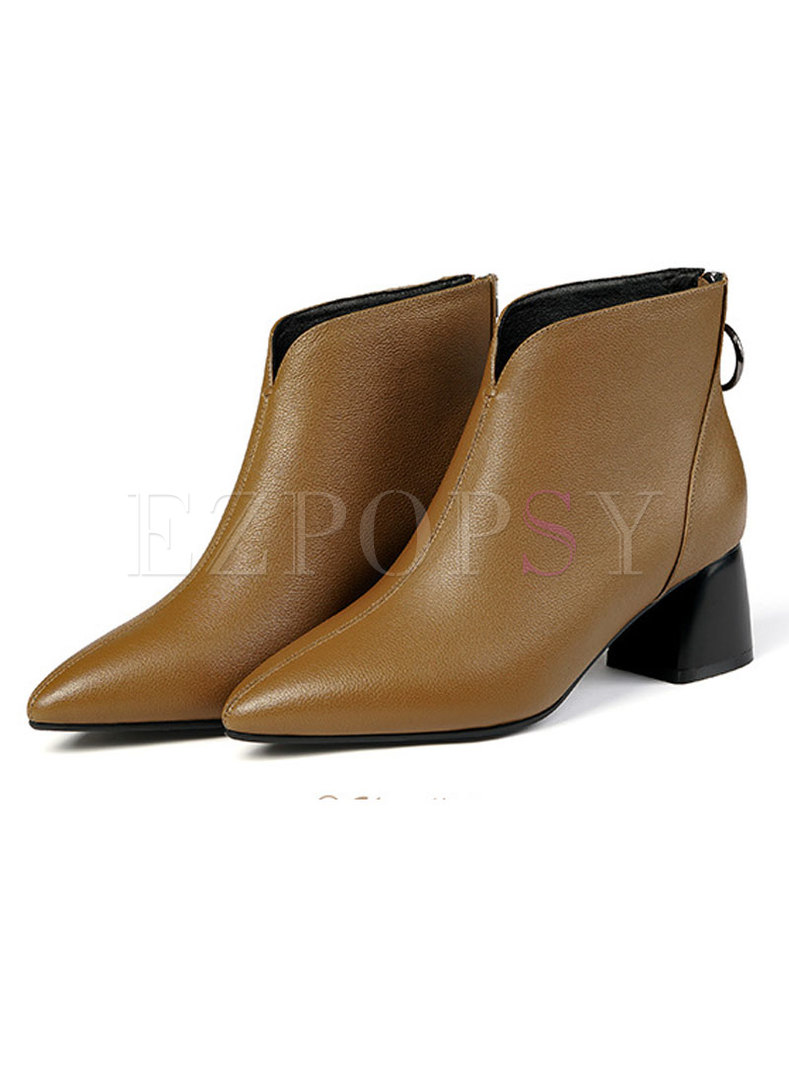Thick Heel Pointed Head Short Leather Chelsea Boots