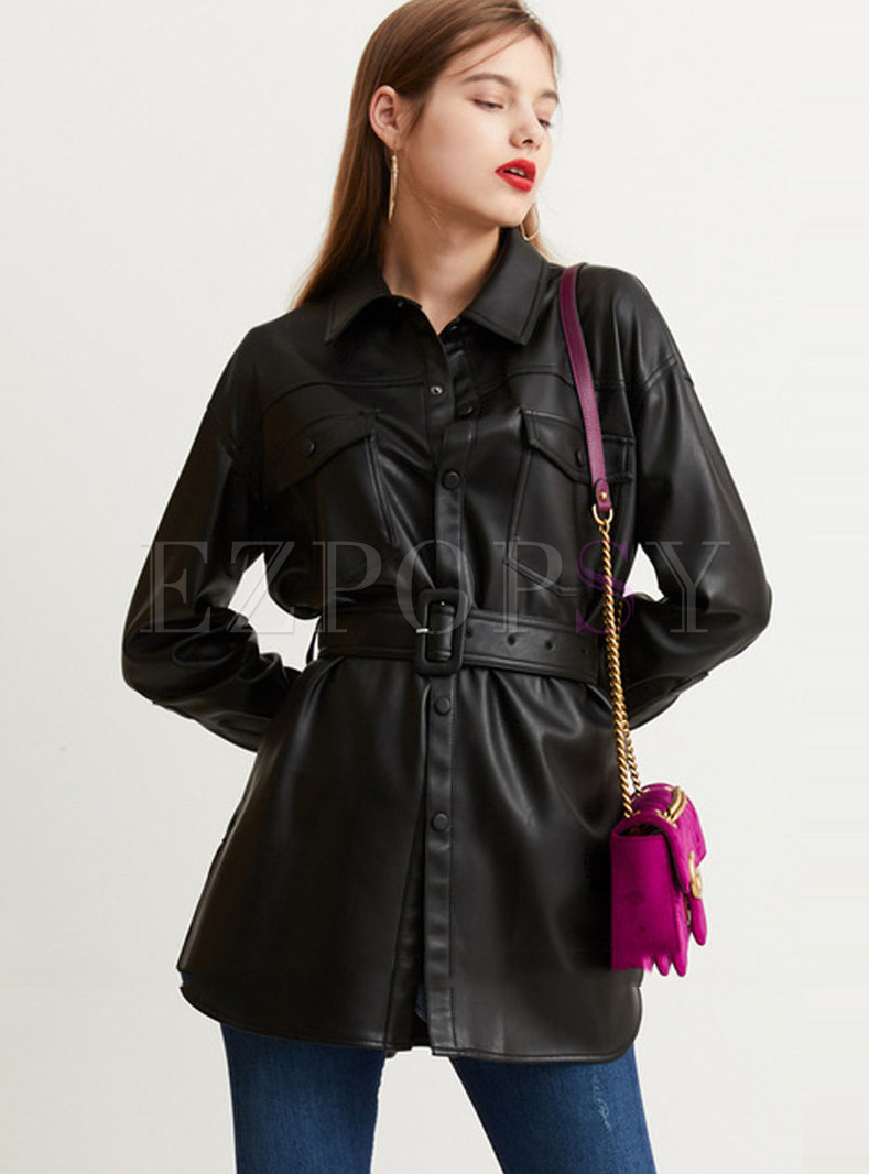 Black Single-breasted Leather Coat With Belt