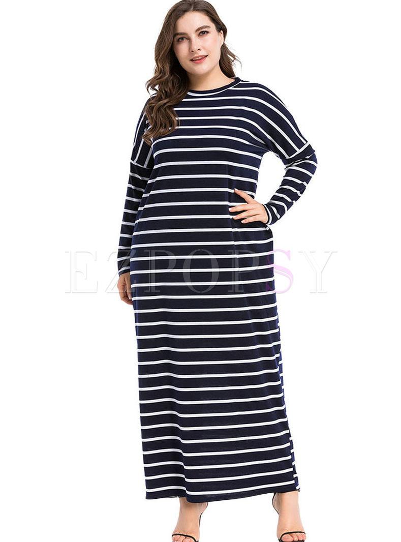 Plus Size Striped Sweater Maxi Dress
