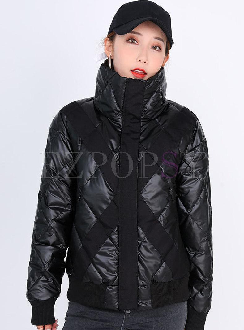 Patchwork Slim Down Cotton Puffer Coat
