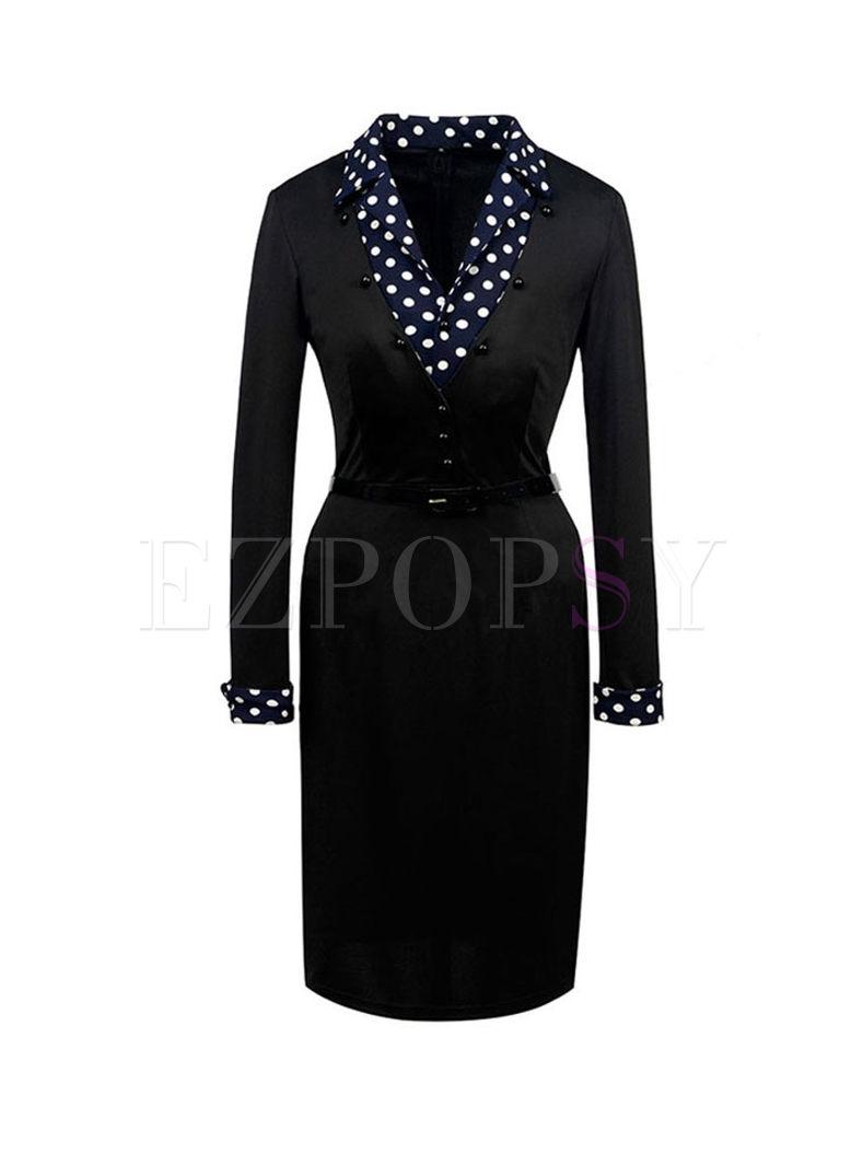 Black Notched Polka Dot Bodycon Dress