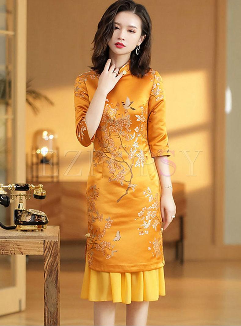 Mandarin Collar Half Sleeve Jacquard Bodycon Dress