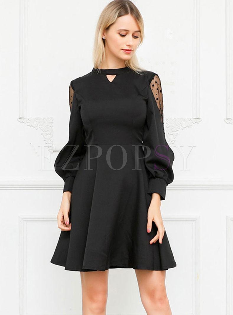 Polka Dot Mesh Patchwork Backless A Line Dress