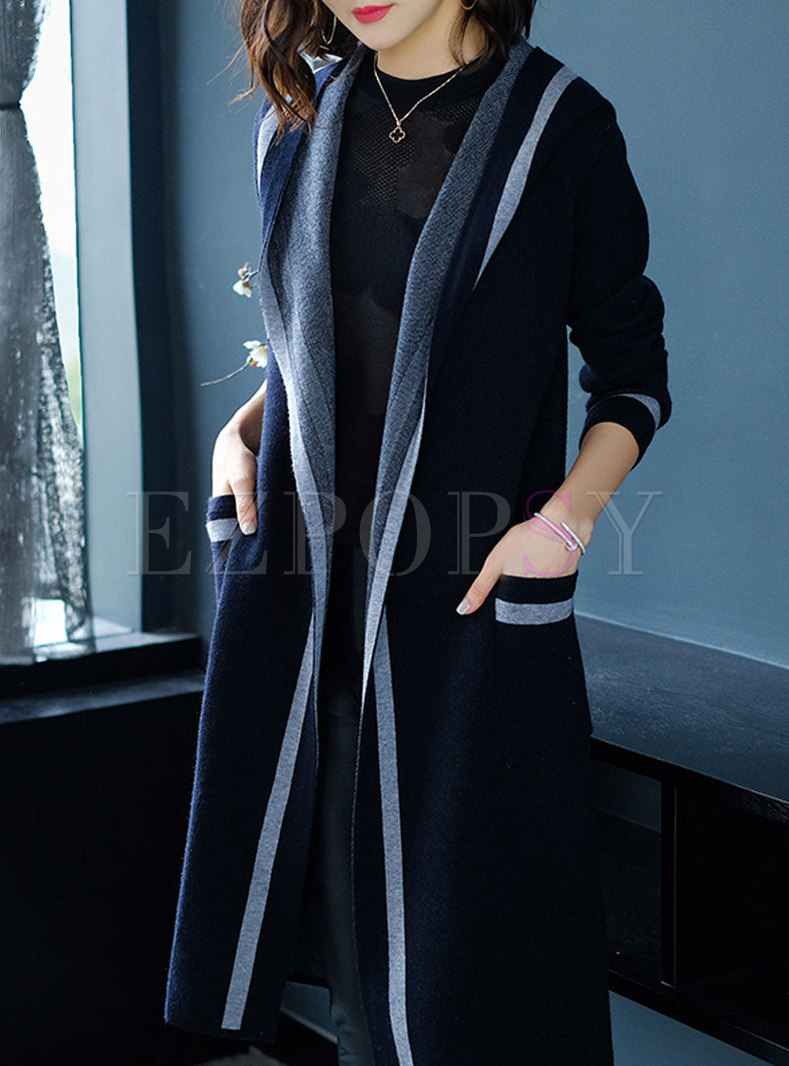 Fashionable Hooded Color-blocked Knitted Coat